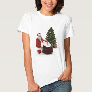 Presentes del ajuste de Santa por el árbol Playeras