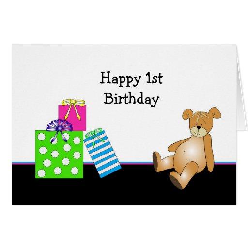Presentes del oso del cumpleaños tarjeta de felicitación