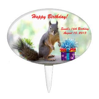 Presentes lindos de la ardilla y de cumpleaños decoración de tarta