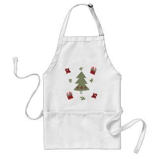Presentes y acebo del árbol de navidad delantal