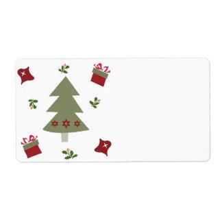Presentes y acebo del árbol de navidad etiquetas de envío