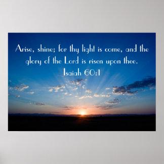 Preséntese, brille el poster del 60:1 de Isaías de