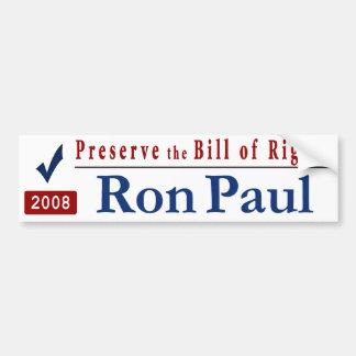 Preserve la Declaración de Derechos - voto Ron Pau Pegatina Para Auto