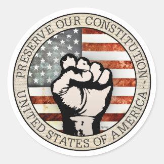 Preserve nuestra constitución etiqueta redonda