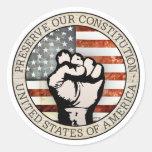 Preserve nuestra constitución pegatina redonda