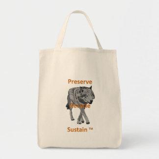 Preserve, recycle, sustain wine tote