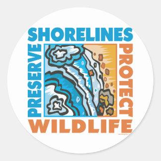 Preserve Shorelines - Protect Wildife Round Stickers