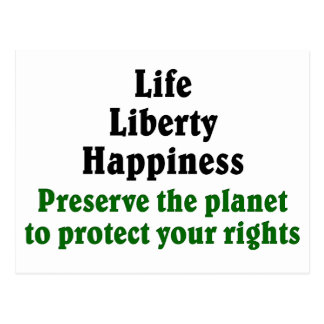 Preserve the planet to protect your rights postcard