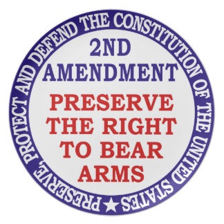 Preserve The Right to Bear Arms ( 2nd Amendment ). Melamine Plate