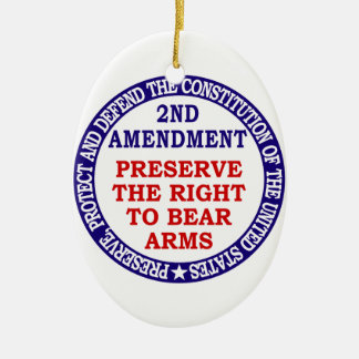 Preserve The Right to Bear Arms ( 2nd Amendment ) Double-Sided Oval Ceramic Christmas Ornament