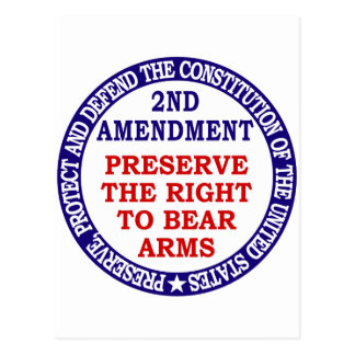 Preserve The Right to Bear Arms ( 2nd Amendment ). Postcard