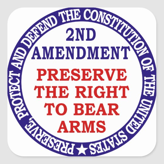Preserve The Right to Bear Arms ( 2nd Amendment ) Square Sticker