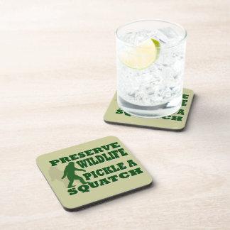 Preserve wildlife pickle a squatch beverage coaster