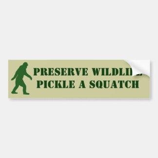Preserve wildlife pickle a squatch bumper sticker