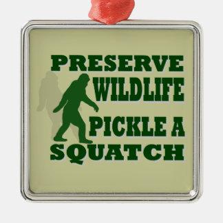 Preserve wildlife pickle a squatch metal ornament