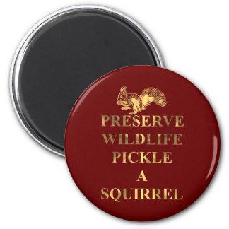 Preserve wildlife pickle a squirrel 2 inch round magnet