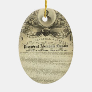 President abe lincoln inaugural address ceramic ornament