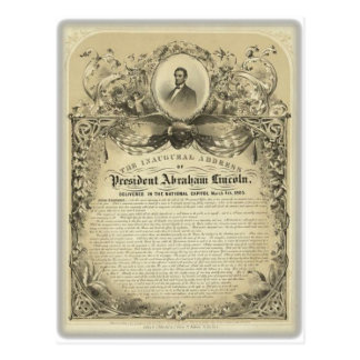 President abe lincoln inaugural address postcard