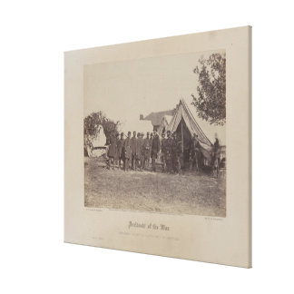 President Abe Lincoln on battle field of Antietam Canvas Print