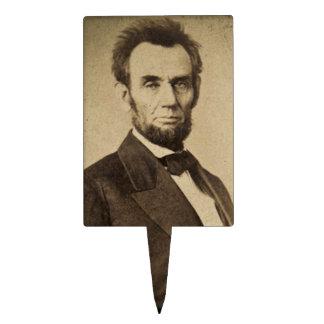 President  Abe Lincoln Stereoview Rectangular Cake Pick