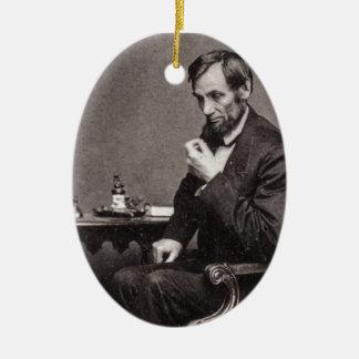 PRESIDENT ABRAHAM LINCOLN 1862 STEREOVIEW CERAMIC ORNAMENT