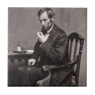 PRESIDENT ABRAHAM LINCOLN 1862 STEREOVIEW CERAMIC TILE