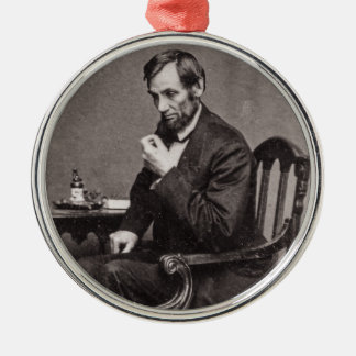 PRESIDENT ABRAHAM LINCOLN 1862 STEREOVIEW METAL ORNAMENT