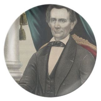 President Abraham Lincoln Color Portrait Kellogg Party Plates