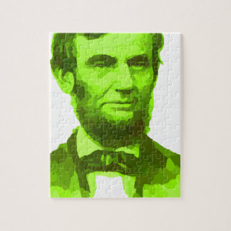 PRESIDENT ABRAHAM LINCOLN GREEN FACE PORTRAITGifts Jigsaw Puzzle