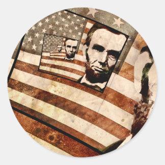 President Abraham Lincoln Patriotic Flag Classic Round Sticker