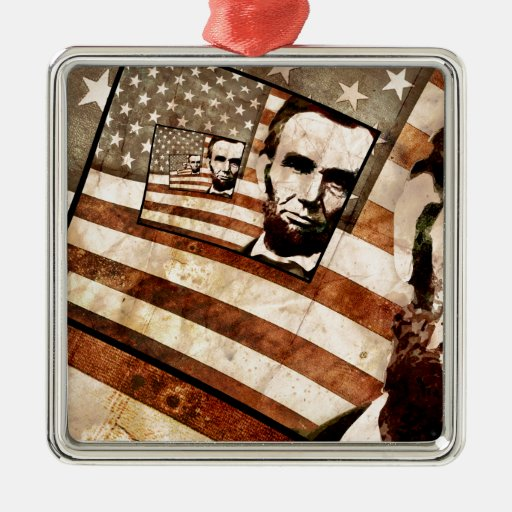 President Abraham Lincoln Patriotic Flag Square Metal Christmas Ornament