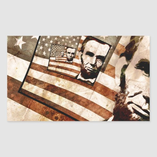 President Abraham Lincoln Patriotic Flag Rectangular Sticker