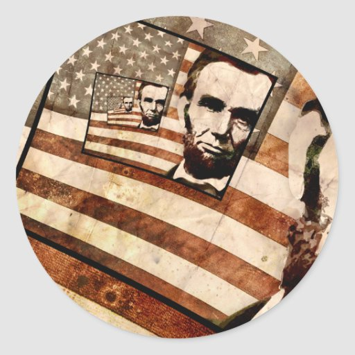 President Abraham Lincoln Patriotic Flag Stickers