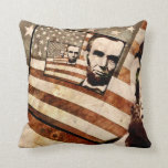 President Abraham Lincoln Patriotic Flag Throw Pillows