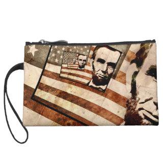 President Abraham Lincoln Patriotic Flag Wristlet Wallet