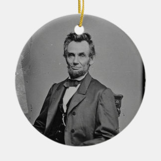 President Abraham Lincoln Portrait by Mathew Brady Double-Sided Ceramic Round Christmas Ornament