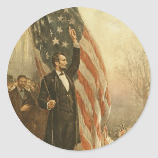 President Abraham Lincoln Under the American Flag Classic Round Sticker