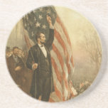 "President Abraham Lincoln Under the American Flag Drink Coaster<br><div class=""desc"">Abraham Lincoln, standing, full-length, facing right, holding rope of flag(?), arm upraised Sign up to Mr. Rebates for FREE and save 12% on any zazzle order in addition to a $5.00 sign up bonus All Rights Reserved; without: prejudice, recourse or notice (U.C.C. 1-308) http://www.loc.gov/pictures/collection/cph/item/90710904/ lincoln flag &quot;abraham lincoln&quot; &quot;american flag&quot;...</div>"
