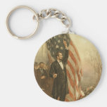 President Abraham Lincoln Under the American Flag Key Chains