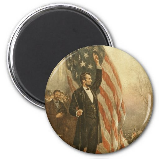 President Abraham Lincoln Under the American Flag Magnet