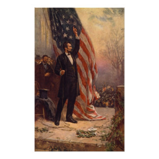 President Abraham Lincoln Under the American Flag Poster