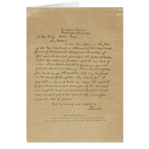 President Abraham Lincoln's Letter to Mrs. Bixby Card | Zazzle
