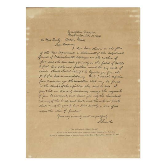 President Abraham Lincoln U0026 39 S Letter To Mrs  Bixby Postcard
