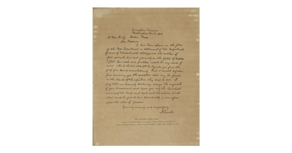 President Abraham Lincoln U0026 39 S Letter To Mrs  Bixby Poster