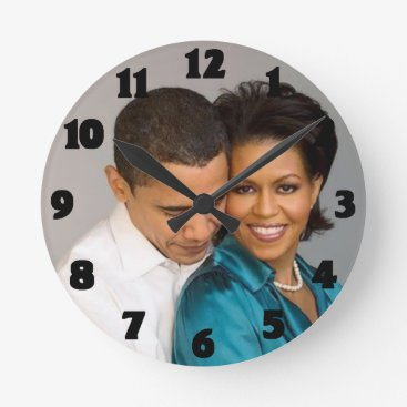 USA Themed PRESIDENT AND MRS. OBAMA-CLOCK ROUND CLOCK
