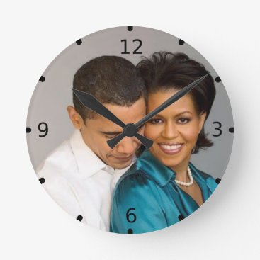 USA Themed PRESIDENT AND MRS. OBAMA ROUND CLOCK