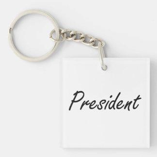 President Artistic Job Design Single-Sided Square Acrylic Keychain