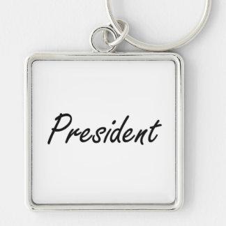 President Artistic Job Design Silver-Colored Square Keychain