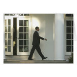 President Barack in deep thought as he walks Greeting Card