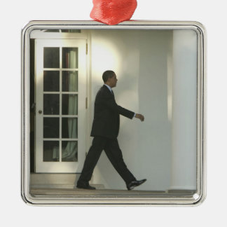 President Barack in deep thought as he walks Metal Ornament